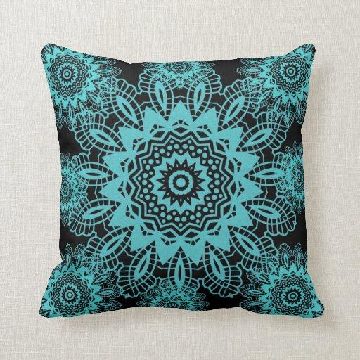 Teal Blue and Black Doily Lace Snowflake Mandala Throw Pillow Zazzle
