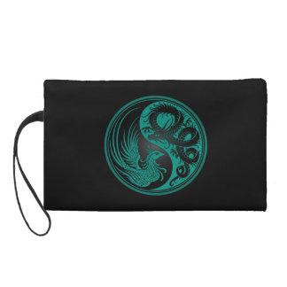 Teal Blue and Black Dragon Phoenix Yin Yang Wristlet Clutch