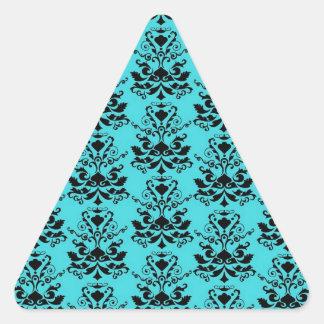 Teal Blue and Black Elegant  Damask Print Triangle Sticker