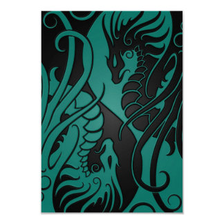 Teal Blue and Black Flying Yin Yang Dragons 3.5x5 Paper Invitation Card