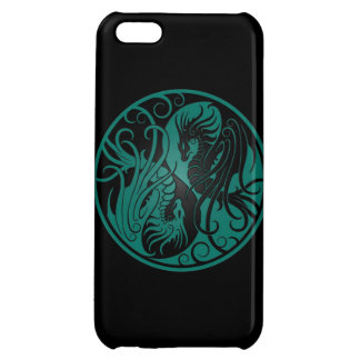 Teal Blue and Black Flying Yin Yang Dragons iPhone 5C Cover