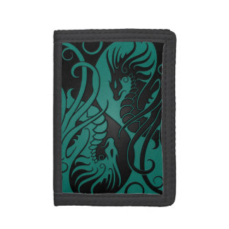Teal Blue and Black Flying Yin Yang Dragons Tri-fold Wallet