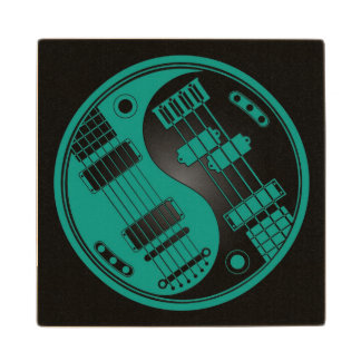 Teal Blue and Black Guitar and Bass Yin Yang Wooden Coaster