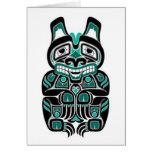 Teal Blue and Black Haida Spirit Bear Greeting Card