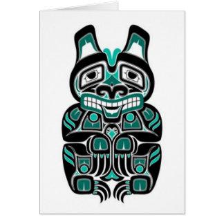 Teal Blue and Black Haida Spirit Bear Card