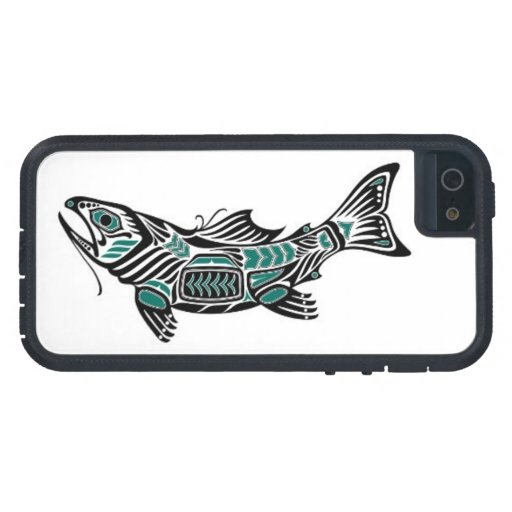 Teal Blue and Black Haida Spirit Fish Case For iPhone 5