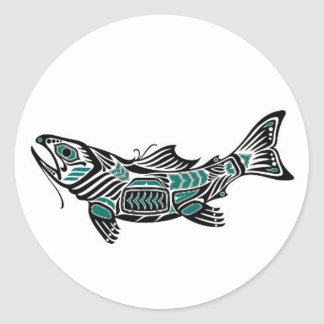 Teal Blue and Black Haida Spirit Fish Classic Round Sticker