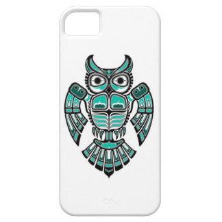 Teal Blue and Black Haida Spirit Owl iPhone 5 Covers
