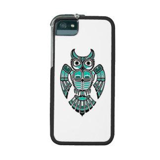 Teal Blue and Black Haida Spirit Owl iPhone 5 Cover