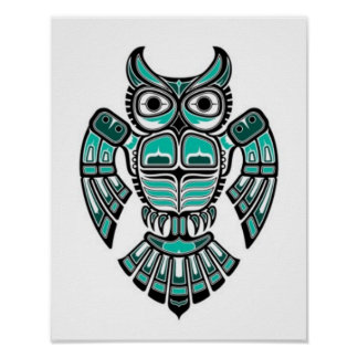 Teal Blue and Black Haida Spirit Owl Poster