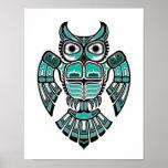 Teal Blue and Black Haida Spirit Owl Print