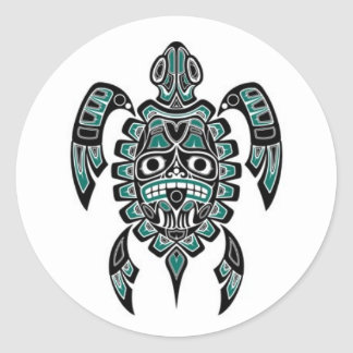 Teal Blue and Black Haida Spirit Sea Turtle Classic Round Sticker