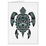 Teal Blue and Black Haida Spirit Sea Turtle Greeting Card