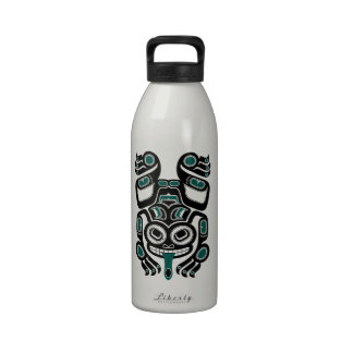 Teal Blue and Black Haida Spirit Tree Frog Reusable Water Bottle