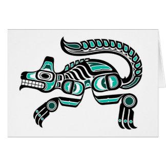 Teal Blue and Black Haida Spirit Wolf Card