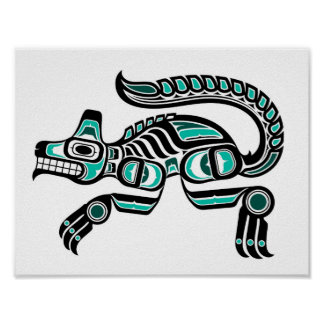 Teal Blue and Black Haida Spirit Wolf Poster