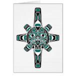 Teal Blue and Black Haida Sun Mask on White Greeting Card