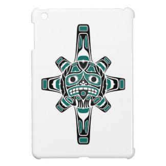 Teal Blue and Black Haida Sun Mask on White Cover For The iPad Mini