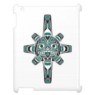 Teal Blue and Black Haida Sun Mask on White iPad Case