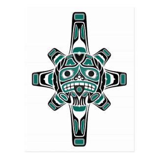 Teal Blue and Black Haida Sun Mask on White Postcard