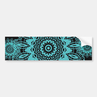 Teal Blue and Black Lace Snowflake Mandala Bumper Sticker