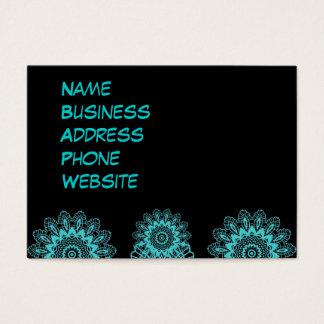 Teal Blue and Black Lace Snowflake Mandala Business Card
