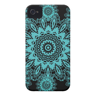 Teal Blue and Black Lace Snowflake Mandala Case-Mate iPhone 4 Case