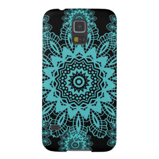 Teal Blue and Black Lace Snowflake Mandala Case For Galaxy S5