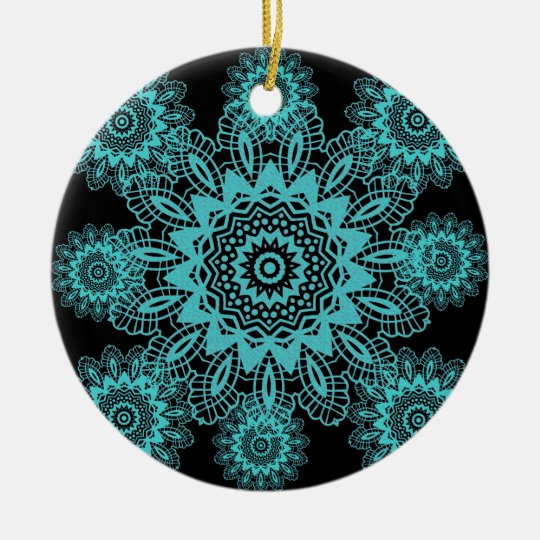Teal Blue and Black Lace Snowflake Mandala Ceramic Ornament