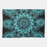 Teal Blue and Black Lace Snowflake Mandala Hand Towels