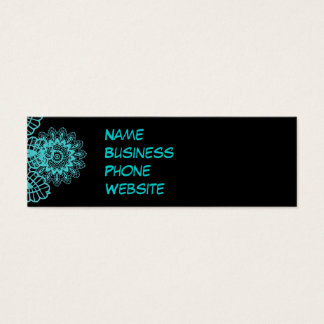 Teal Blue and Black Lace Snowflake Mandala Mini Business Card