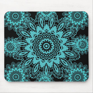 Teal Blue and Black Lace Snowflake Mandala Mouse Pad