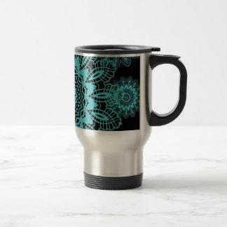 Teal Blue and Black Lace Snowflake Mandala Mug