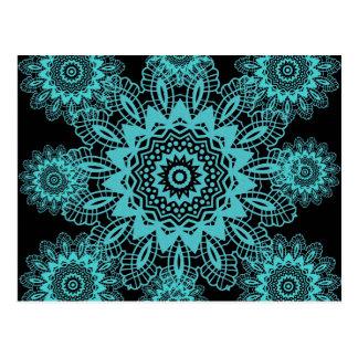 Teal Blue and Black Lace Snowflake Mandala Postcard