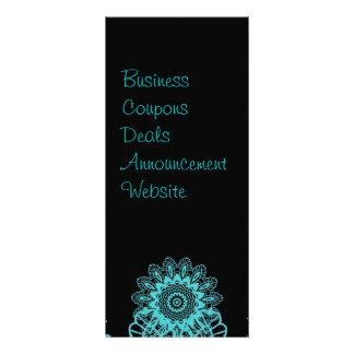 Teal Blue and Black Lace Snowflake Mandala Rack Card
