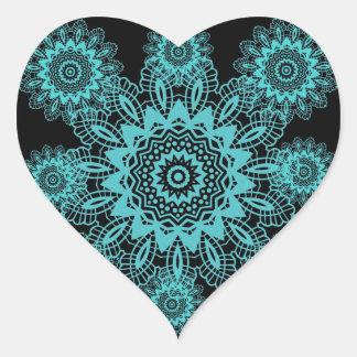 Teal Blue and Black Lace Snowflake Mandala Sticker