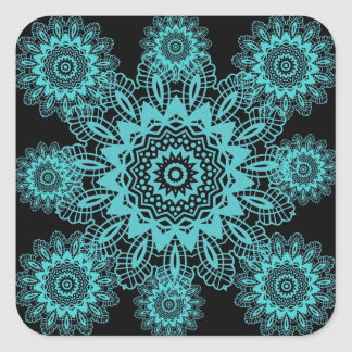 Teal Blue and Black Lace Snowflake Mandala Stickers
