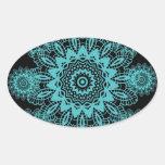 Teal Blue and Black Lace Snowflake Mandala Oval Sticker