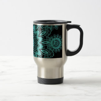 Teal Blue and Black Lace Snowflake Mandala Travel Mug