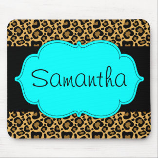 Teal Blue and Black Leopard Personalized Mouse Pad