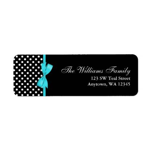 Teal Blue and Black Polka Dot Bow Custom Return Address Labels