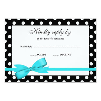 Teal Blue and Black Polka Dot Bow RSVP 3.5x5 Paper Invitation Card