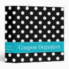 Teal Blue and Black Polka Dot Coupon Organizer 3 Ring Binder