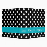 Teal Blue and Black Polka Dot Coupon Organizer Binders