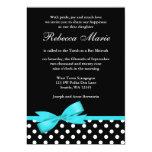 Teal Blue and Black Polka Dots Bow Bat Mitzvah 5x7 Paper Invitation Card