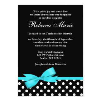 Teal Blue and Black Polka Dots Bow Bat Mitzvah Card