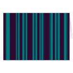Teal blue and black stripes greeting card