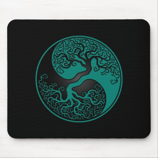 Teal Blue and Black Tree of Life Yin Yang Mouse Pad