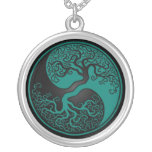 Teal Blue and Black Tree of Life Yin Yang Round Pendant Necklace