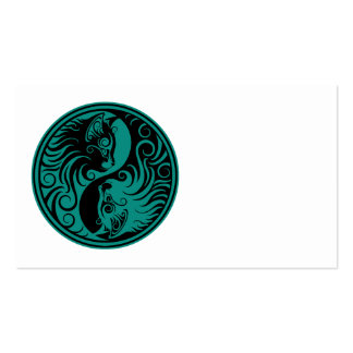 Teal Blue and Black Yin Yang Cats Business Card Template